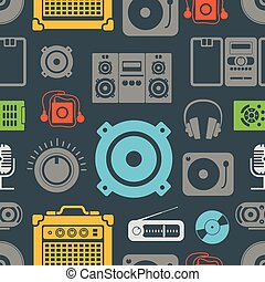 ícones, cor, padrão, seamless, equipamento, áudio