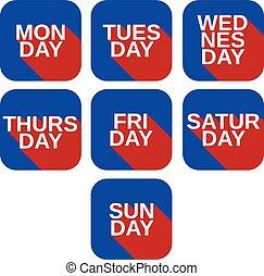 ícones, cor, quadrado, títulos, dias, jogo, vetorial