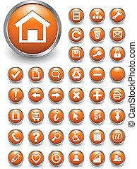 ícones correia fotorreceptora, botões