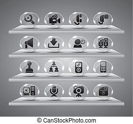 ícones correia fotorreceptora, botões, vidro, speach