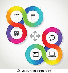 ícones correia fotorreceptora, cor, modelo, interface, círculo