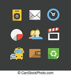 ícones correia fotorreceptora, cor, modernos, cobrança, trendy, interface