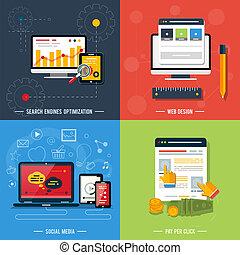 ícones correia fotorreceptora, mídia, social, seo, desenho