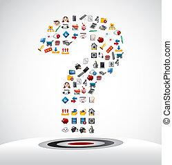ícones correia fotorreceptora, marca pergunta, cartão