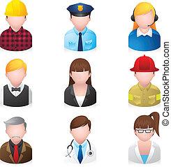 ícones correia fotorreceptora, pessoas, -, 2, profissional
