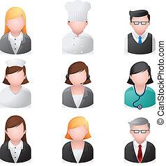 ícones correia fotorreceptora, -, profissional, pessoas