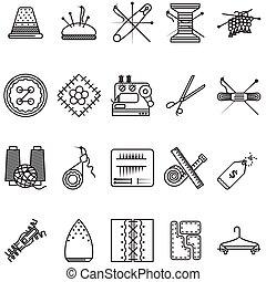 ícones, cosendo, feito à mão, cobrança, vetorial, pretas,...