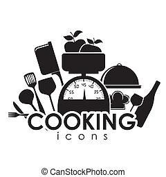 ícones, cozinhar