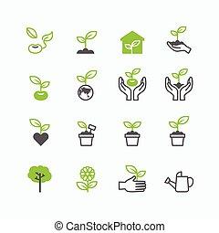ícones, crescendo, planta, vetorial, broto, desenho, linha, apartamento
