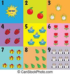 ícones, crianças, aprendendo ler
