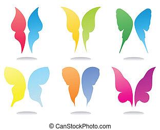 ícones, de, asas, de, borboletas, de, bonito, colours., um,...