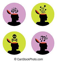 ícones, de, cabeça