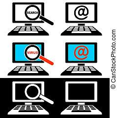 ícones, de, monitores computador