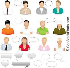 ícones, de, pessoas