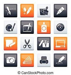 ícones, desenho, gráfico, teia