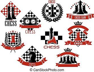 ícones, desporto, jogo, emblemas, xadrez