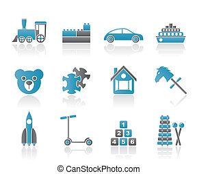 ícones, diferente, brinquedos, tipos