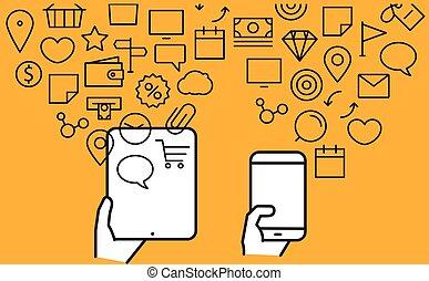 ícones, diferente, tecno, modernos, fluxos, gadgets.