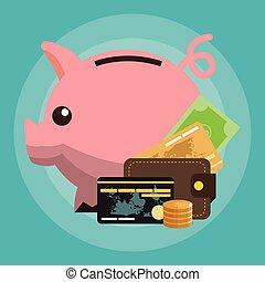ícones, dinheiro, dinheiro, relatado, crédito, piggy, cartões, banco