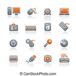 &, ícones, dispositivos, computador, grafita, /