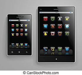 ícones, dispositivos, cor, móvel