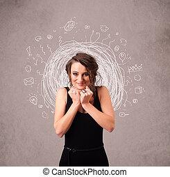 ícones, doodle, abstratos, linhas, jovem, menina bonita, circular