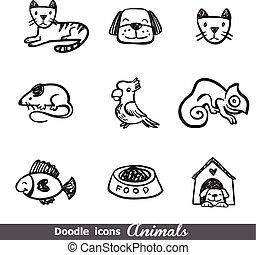 ícones, doodles, animais