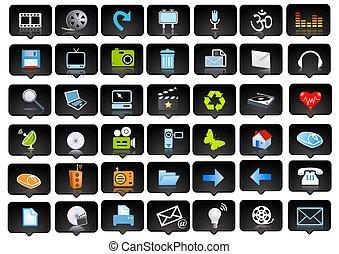 ícones, e, logotipo