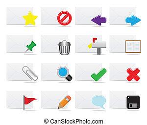 ícones, e-mail