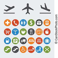 ícones, e, ponteiros, para, navegação, em, aeroporto