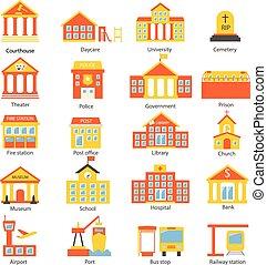 ícones, edifícios, jogo, governo