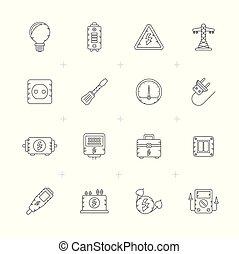 ícones, electricidade, linha poder, energia
