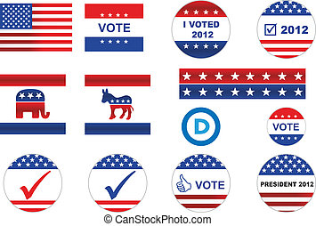 ícones, eleição, emblemas, nós