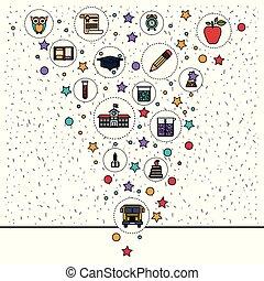 ícones, elemento, fundo, faíscas, branca, educação