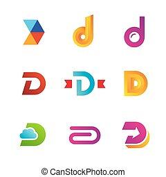 ícones, elementos, modelo, logotipo, jogo, letra, desenho, d