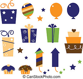 ícones, elementos, partido, vetorial, desenho, celebration...