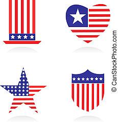 ícones, elementos, relatado, patriotismo, 1, americano, -