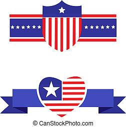 ícones, elementos, relatado, patriotismo, 2, americano, -