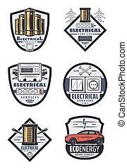 ícones, energia, vetorial, elétrico, retro, serviços