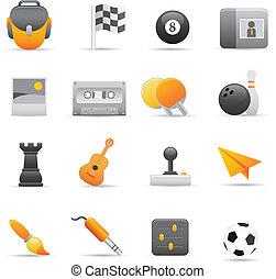 ícones,  , entretenimento, amarela, 02