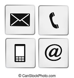 ícones, envelope, móvel, telefone, -, contato, correio, ...