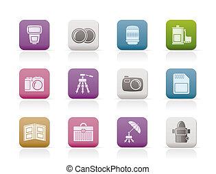ícones, equipamento, fotografia