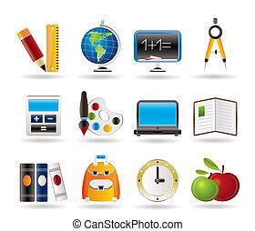 ícones, escola, educação