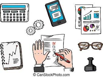 ícones escritório, gerência, negócio