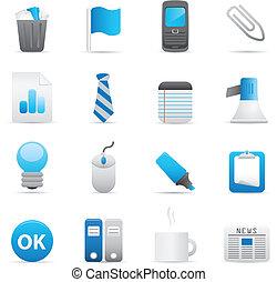 ícones escritório, jogo, |, indigo, série, 02