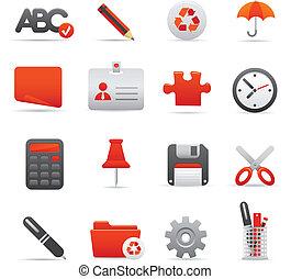ícones escritório, jogo, |, vermelho, série, 01