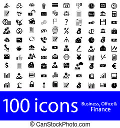 ícones, escritório, negócio