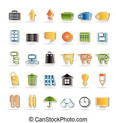 ícones, escritório negócio