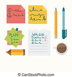 ícones escritório, notas, vetorial, papelaria, mensagem