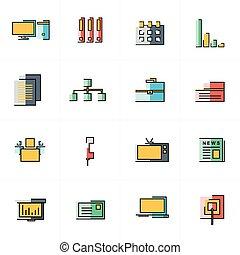ícones escritório, projeto fixo